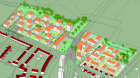 The project Gutleutmatten in the German city of Freiburg will produce heat for a residential district using 2,287 m² of solar collectors. (Graphic: Office of city planning Freiburg im Breisgau)