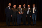 Andreas Werner, Master Brewer of Green Brewery Göss (fourth from left) received the IEA SHC Solar Award at Gleisdorf Solar 2016 in Austria from Ken Guthrie, Chairman of IEA SHC (third from left). (Photo: IEA SHC)
