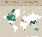 Screenshot of the map showing global PV installations in 2014