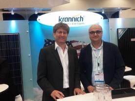 Krannich`s CEO Kurt Krannich (left) and Juan Romera-Walde, CEO of its U.S. subsidiary Krannich Solar East at Intersolar North America. (Photo: H.C. Neidlein)