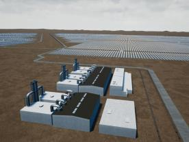 An artist's impression of the 100-megawatt solar farm to be built in Tailem Bend. (Graphic: The Lead South Australia)