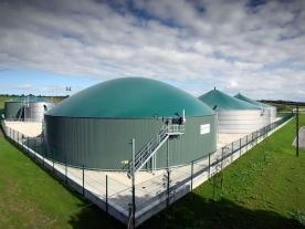 The two stainless-steel digesters in Aurora which will be fed with 100 tons of organic waste per day. (Photo: Weltec Biopower GmbH)