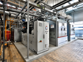 The energy centre of Police Academy Biberach in Germany: Two CHP units are combined using power to heat aggregates.(Photo:Duckek)