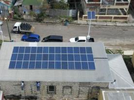 Antigua: While other buildings suffered severe damages, the rooftop solar installation remained unaffected from the hurricane. Photo: PV Energy