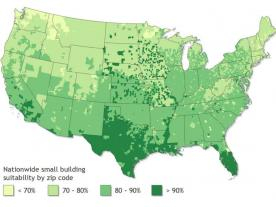 Percentage of small buildings suitable for PV in the United States. (Graphic from the report of the National Renewable Energy Laboratory)