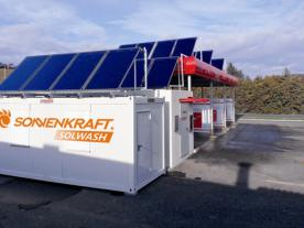 The technical equipment of the solar thermal car wash can be installed in a standard container