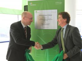 Official construction start of the offshore wind farm Wikinger with Christian Pegel, Minister of Energy, Infrastructure and Regional Development for Mecklenburg-Vorpommern, and Tanis Rey-Baltar, Iberdrola's project coordinator for Wikinger. (Photo: Iberdrola)