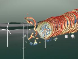 An animation visualizes the wind currents of the field-test research plant. (Photo: WindForS)