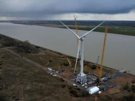 "The ""Haliade 150-6 MW"" stands not far from the Loire estuary and is currently the largest wind turbine worldwide. Photo: Alstom"