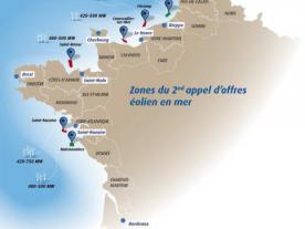 Two new sites are in the second round of French offshore tendering. (Graphic: Minister for Ecology, Sustainable Development and Energy)
