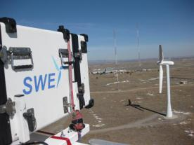 A LIDAR system installed on the nacelle controls a wind turbine in Boulder. Photo: University of Stuttgart