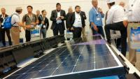 The new Sprint lightweight PV system of Beamreach presented at Intersolar North Amercia promises a more efficient use of commercial flat roofs for solar. (Photo: Hans-Christoph Neidlein)