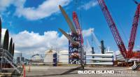 Blades for the offshore wind turbines are being unloaded at Rhode Island's ProvPort. (Photo: Deepwater Wind)