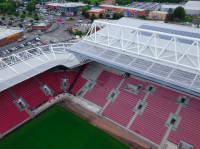 The 44 m high West Stand of Bristol's Ashton Gate Stadium is now equipped with a PV system that will supply about 95 MWh of solar power per year for the operation of the stadium. (Photo: Bristol Sport)
