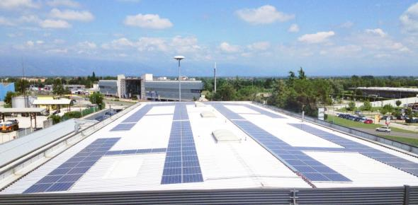 The solar plant on the roof of Autostar Spa